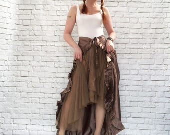 Vintage 90s Antique Bronze Ruffled Bustle Victorian Steampunk Mesh Layered Wrap Over Skirt M L
