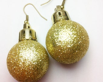 Christmas Ornament Earrings - Tacky Sweater Earrings - Red/Silver/Gold - Ornament - Dangle Earrings - Holiday Earrings - Free Shipping