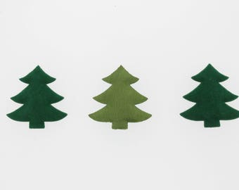 Padded Felt Christmas Tree Applique 50 Pieces, 1 Color (Green or White)