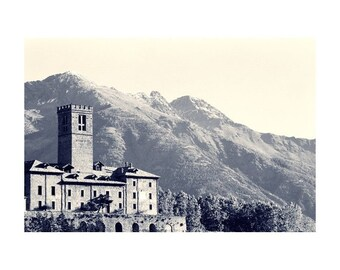 Fine Art Black & White Landscape Photography of Castllo Sarres in the Alps of Italy - Toned Print