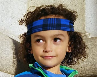 Buffalo Plaid Headband for Boys / Blue Headband / Boy Headband / Tie on Headband / Toddler Boy Hair Band / BoyBandz / Boy Bandana Headband