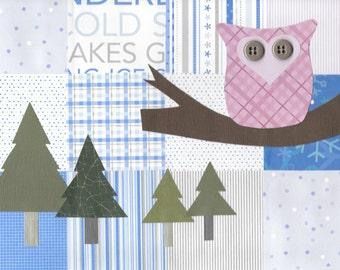 """Original Paper Collage - 9"""" x 12"""" - Winter Wonderland #3"""