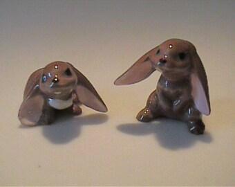 Two vintage miniature Hagen Renaker brown lop ear bunny rabbits