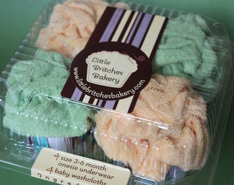 It's a surprise: gender-neutral four pack of onesie cupcakes, baby shower gift
