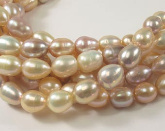 10 x 12-14 mm High Luster Rice/Oval Natural Pink AA Freshwater Pearl Beads Natural Pink Pearl Beads, Genuine Freshwater Pearls (454-RPK1014)