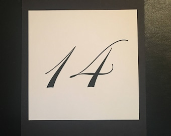 Double Sided Black and White Table Number Card
