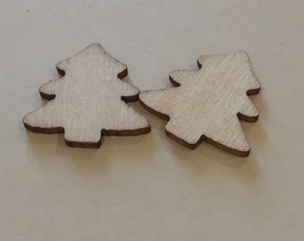 Christmas Tree Wooden Shape, Natural Wood, pack of 30.