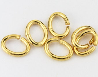 7mm x 5mm Gold Tierracast Pewter Oval Jump Ring #RJA050