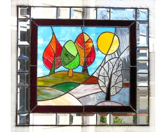 Stained Glass Panel Change of Seasons MADE to ORDER Handmade CUSTOM