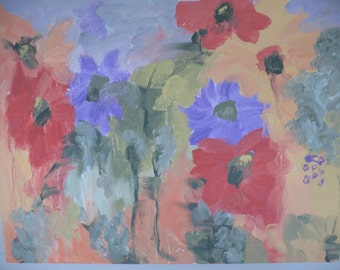 "Original -  Abstract Floral Painting - ""Misty Garden - 20 x 24 inches - Kate Ladd"