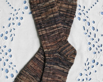 Hand Knit Wool Socks Women Small Size, Brown Tan Dark Colors