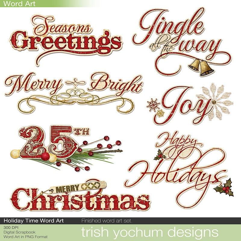 Christmas Digital Word Art Clipart Holiday Sayings Digital