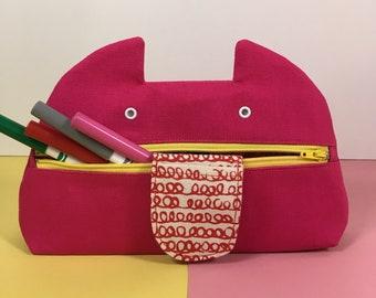 Zip Monster Pencil Case,  Handmade Zip Pouch, Cotton Canvas, Screenprint, Pink