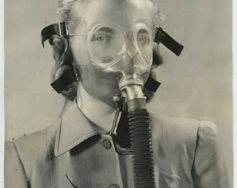 Original 1941 Photo Woman Modeling transparent gas mask strange odd unique photo