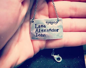 Handstamped custom necklaces with children's names