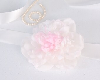 Flower Bridal Sash - Silk Flower Bridal Sash - Large Silk Flower Brooch - Pink Wedding Sash - Floral Bridal Sash - Flower Brooch