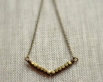 Chevron Necklace, Antiqued Brass, Burnished Bronze, Wire Wrapped, Simple Jewelry, Women