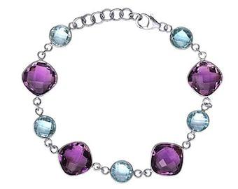 Natural 37 cttw Amethyst Blue Topaz Sterling Silver Bracelet
