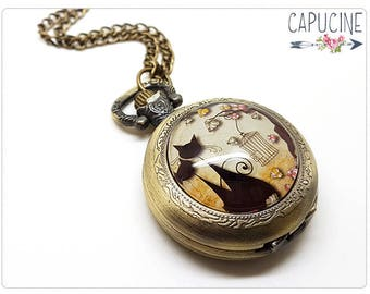 Cats Pocket Watch Necklace - Necklace watch bronze - Glass dome cats