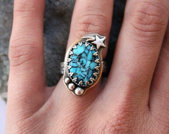 Turquoise Shooting Star Ring size 6 US