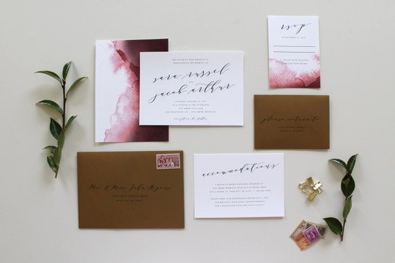 Cost Of Calligraphy For Wedding Invitations: Calligraphy Wedding Invitation Modern Calligraphy Wedding