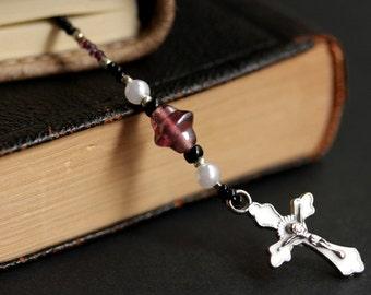 Purple and White Bookmark. Christian Bookmark. White and Purple Bookmark. Beaded Book Marker. Christian Cross Book Thong.
