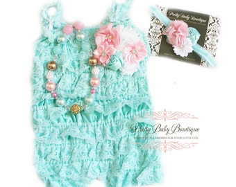 Baby Lace Romper Floral Headband Necklace SET, Baby Birthday Cake Smash Outfit Pink Teal Aqua Blue Infant Party Outfit, Ruffled Lace