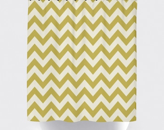 Yellow and white chevron fabric shower curtain, high quality shower curtain, chevron, yellow, white, bathroom decor, modern, home decor