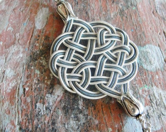 Infinity Necklace Sterling Oxidized Silver Kazaziye Handwoven Infinity Jewelry