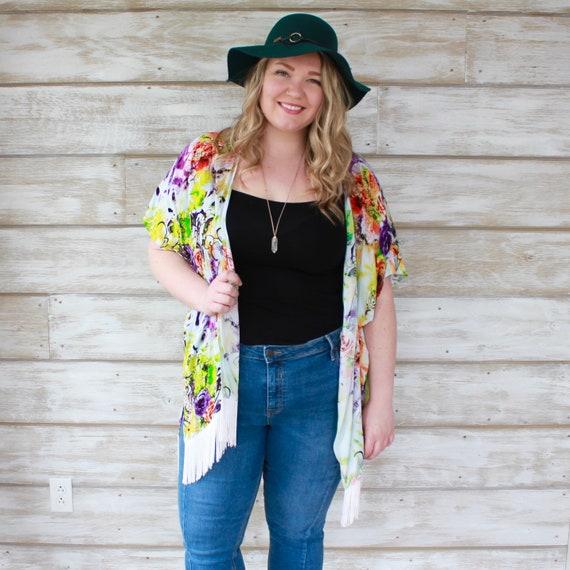 Kimono Cardigan, Beach Coverup, Floral Kimono, Long Kimono, Festival Fashion, Summer Kimono, Loose Kimono, Boho Chic, Fashion