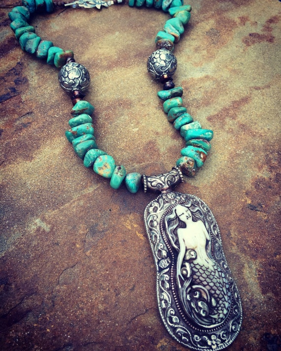 Genuine Turquoise Nugget with Huge Mermaid Pendant Boho Statement Necklace and Earring Set