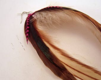 feather earrings hand made Color me natural hot pink grizzly.