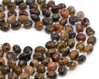 0160 Natural Sesame agate Pebble Chips loose gemstone beads 16""