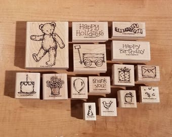 Stampin' Up Retired Set - 2003 Favorite Teddy Bear - Rubber Stamp Set of 15 - RS-073