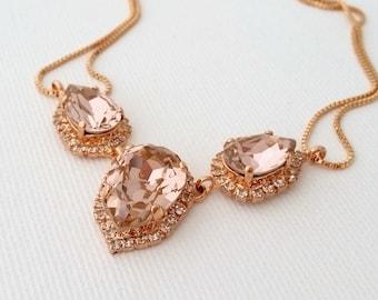 Blush necklace,Blush Morganite bridal necklace,Swarovski crystal necklace,Rose gold necklace,Bib necklace,blush bridesmaid gift,Statement