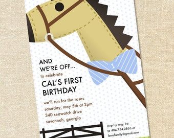 Sweet Wishes Blue Boy's Hobby Horse Kentucky Derby Party Invitations - PRINTED - Digital File Also Available