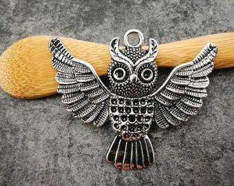 1 pc, owl, OWL pendant, bird, silver, pendant 51 x 34 mm