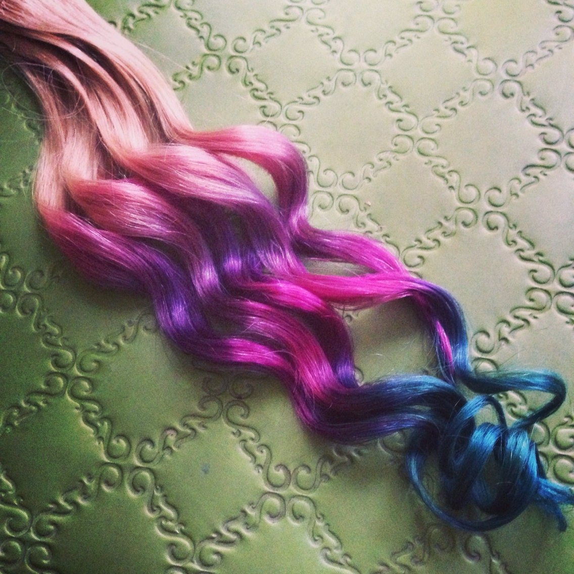 Handmade Ombre Pastel Tie Dye Tips Human Hair Extensions