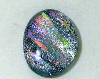 Dichroic glass cabochon, 18.5mm x 24mm, pastel shades #cab016