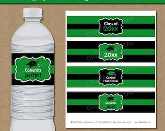 Graduation Water Bottle Labels Printable, Kelly Green Class of 2018 Water Bottle Wraps, Graduation Ideas, Graduation Party Decorations G1