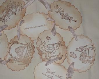 Happy Spring Vintage Inspired Banner Garland Hand Stamped