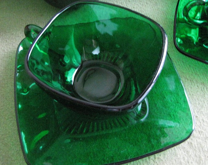 Forest Green Glass Cups and Saucers Anchorglass Charm Pattern Anchor Hocking 1950-1954 Priced Individually 11 Sets Available