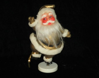Vintage Gold  Glitter  Dancing Santa Claus Christmas  Table Decoration / Ornament  Self Standing St.Nick