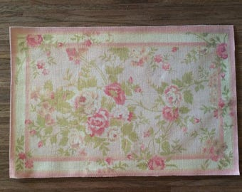 "Dollhouse Miniature Romantic Shabby Chic Rug, ""In Bloom"", Scale One Inch or One Sixth Scale"
