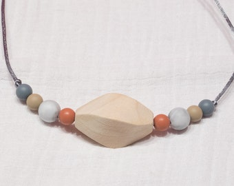 rose and gray silicone and wood teething necklace