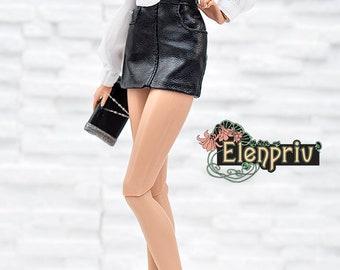ELENPRIV black leather mini skirt for Fashion royalty FR2 and similar body size dolls