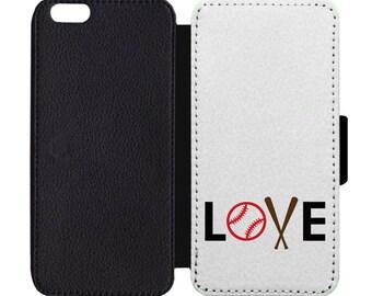 Love Baseball Leather Flip Wallet Case Apple iPhone 5 5S SE 6 6S 7 7S 8 8S X Plus