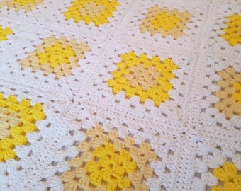 White and Yellow Granny Squares Afghan Throw