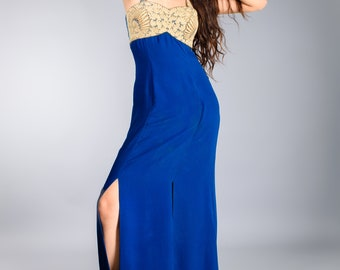 Royal Blue Embroidered Gown