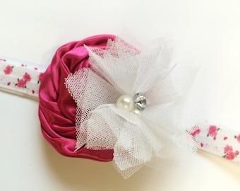 Little Girls Easter Headband - Hot Pink First Easter Headband - 1st Easter Headband - Pink Floral Headband for Flower Girl - Easter Gift
